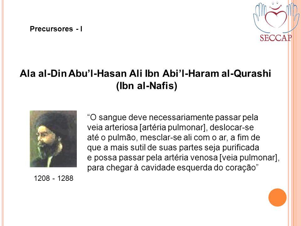 Ala al-Din Abul-Hasan Ali Ibn Abil-Haram al-Qurashi (Ibn al-Nafis) 1208 - 1288 O sangue deve necessariamente passar pela veia arteriosa [artéria pulmo