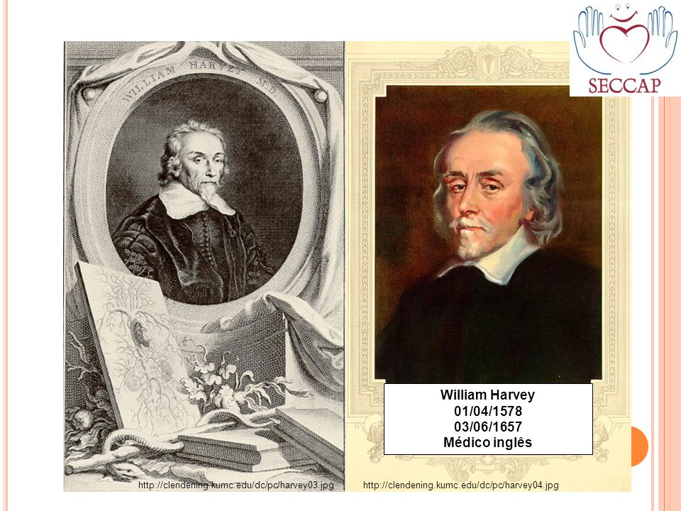 http://clendening.kumc.edu/dc/pc/harvey03.jpghttp://clendening.kumc.edu/dc/pc/harvey04.jpg William Harvey 01/04/1578 03/06/1657 Médico inglês