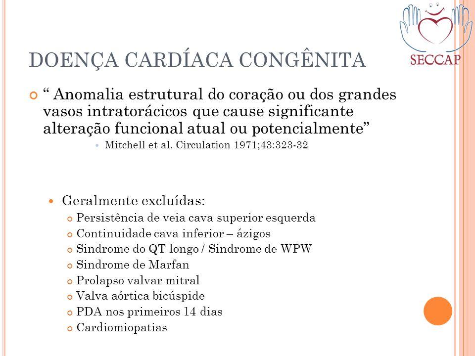 DOENÇA CARDÍACA CONGÊNITA Anomalia estrutural do coração ou dos grandes vasos intratorácicos que cause significante alteração funcional atual ou poten