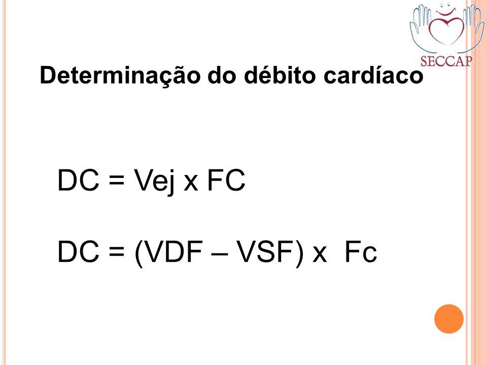 DC = Vej x FC DC = (VDF – VSF) x Fc Determinação do débito cardíaco