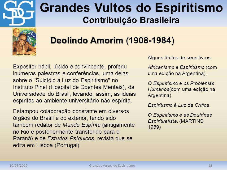 Grandes Vultos do Espiritismo Contribuição Brasileira 10/03/2012Grandes Vultos do Espiritismo12 Expositor hábil, lúcido e convincente, proferiu inúmer