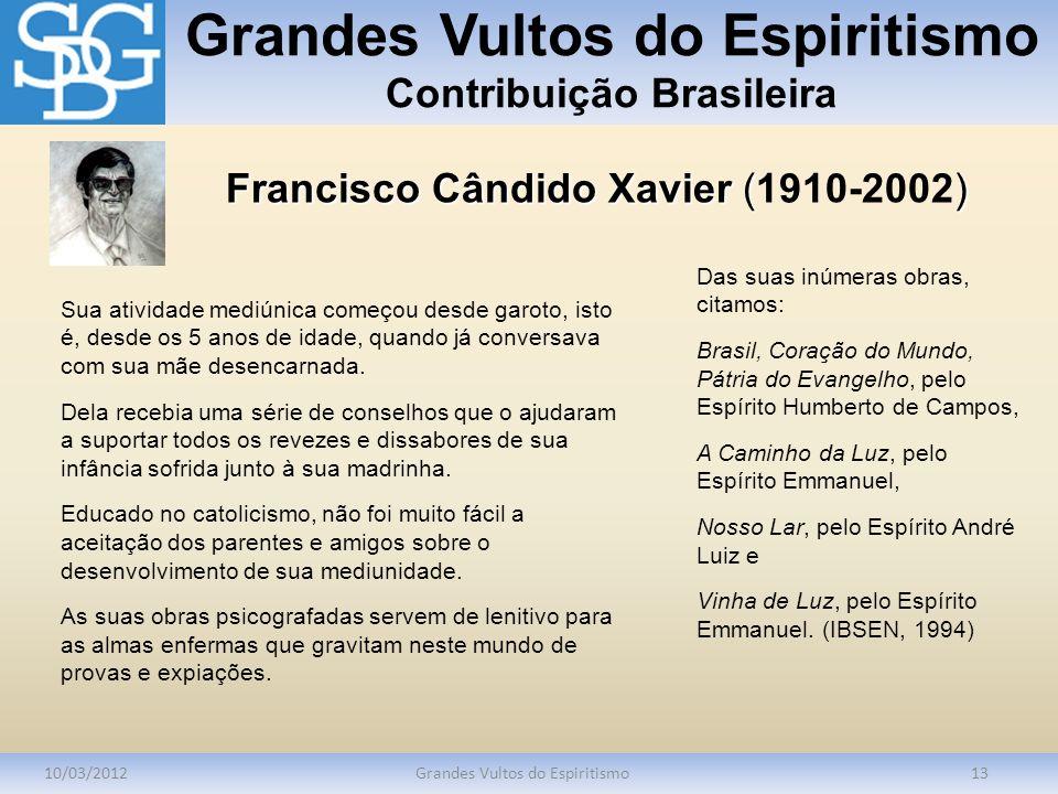 Grandes Vultos do Espiritismo Contribuição Brasileira 10/03/2012Grandes Vultos do Espiritismo13 Sua atividade mediúnica começou desde garoto, isto é,