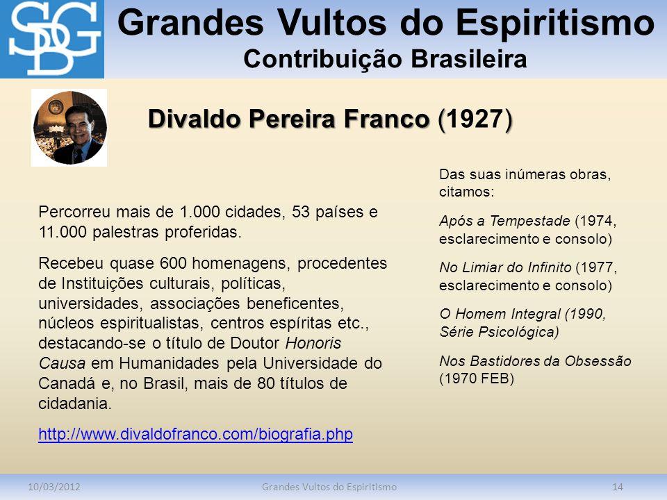 Grandes Vultos do Espiritismo Contribuição Brasileira 10/03/2012Grandes Vultos do Espiritismo14 Percorreu mais de 1.000 cidades, 53 países e 11.000 pa