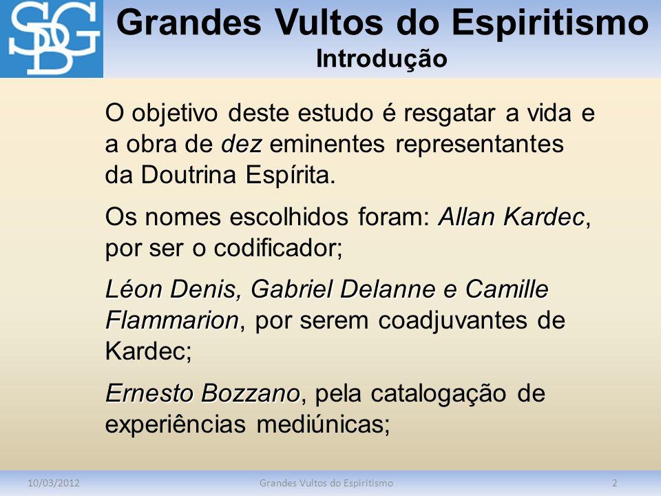 Grandes Vultos do Espiritismo Introdução 10/03/2012Grandes Vultos do Espiritismo2 dez O objetivo deste estudo é resgatar a vida e a obra de dez eminen