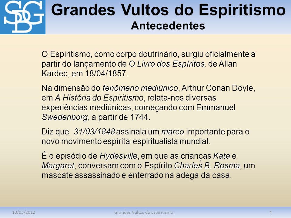 Grandes Vultos do Espiritismo Antecedentes 10/03/2012Grandes Vultos do Espiritismo4 O Livro dos Espíritos O Espiritismo, como corpo doutrinário, surgi