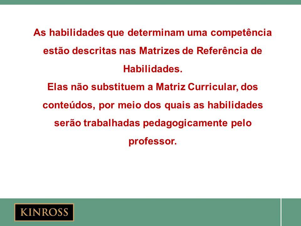As habilidades que determinam uma competência estão descritas nas Matrizes de Referência de Habilidades. Elas não substituem a Matriz Curricular, dos