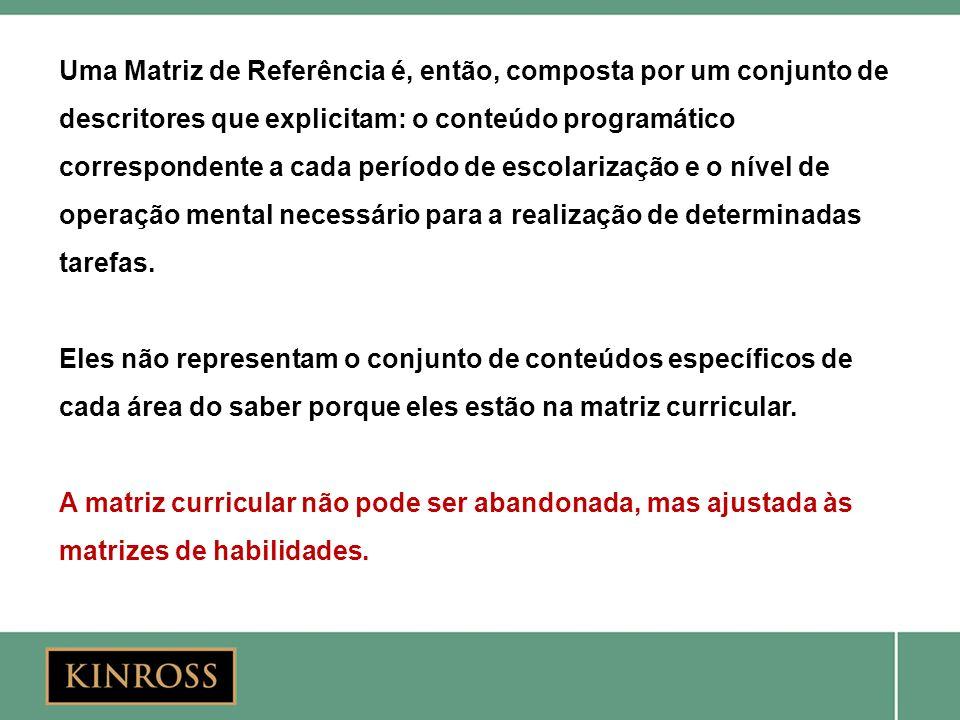 Uma Matriz de Referência é, então, composta por um conjunto de descritores que explicitam: o conteúdo programático correspondente a cada período de es