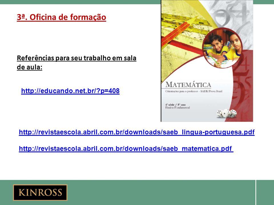 3ª. Oficina de formação Referências para seu trabalho em sala de aula: http://revistaescola.abril.com.br/downloads/saeb_lingua-portuguesa.pdf http://r