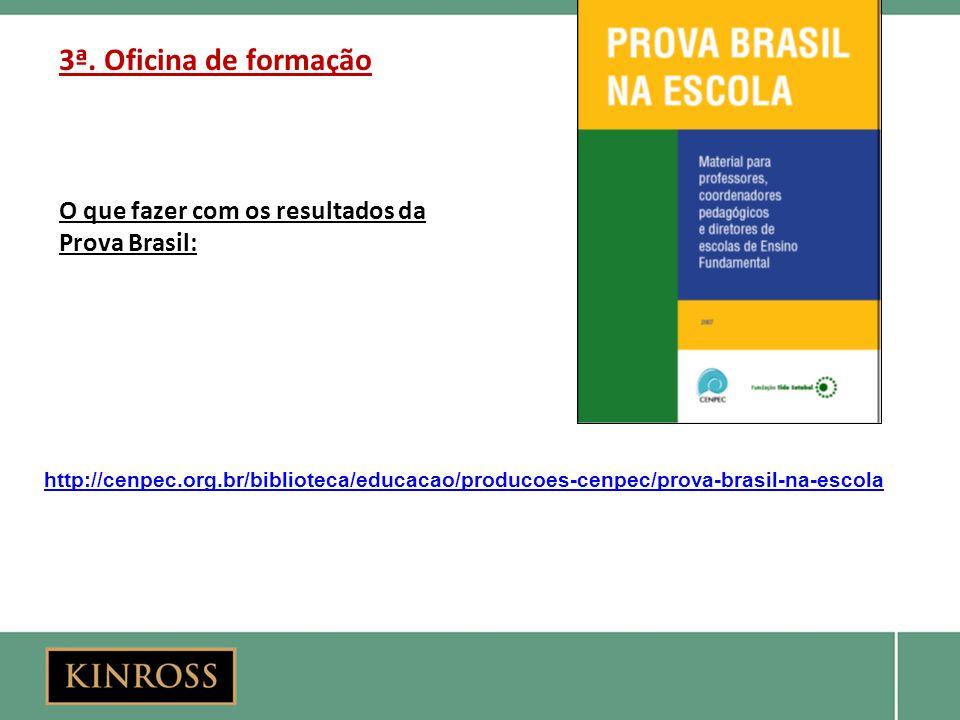 3ª. Oficina de formação O que fazer com os resultados da Prova Brasil: http://cenpec.org.br/biblioteca/educacao/producoes-cenpec/prova-brasil-na-escol
