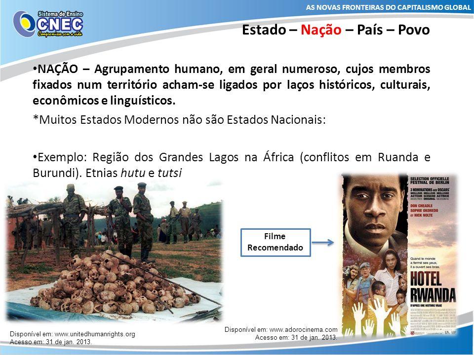 Estado – Nação – País – Povo NAÇÃO – Agrupamento humano, em geral numeroso, cujos membros fixados num território acham-se ligados por laços históricos