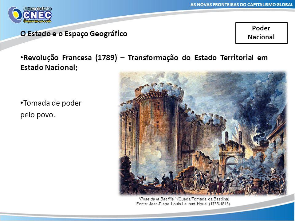 O Estado e o Espaço Geográfico Revolução Francesa (1789) – Transformação do Estado Territorial em Estado Nacional; Tomada de poder pelo povo. AS NOVAS