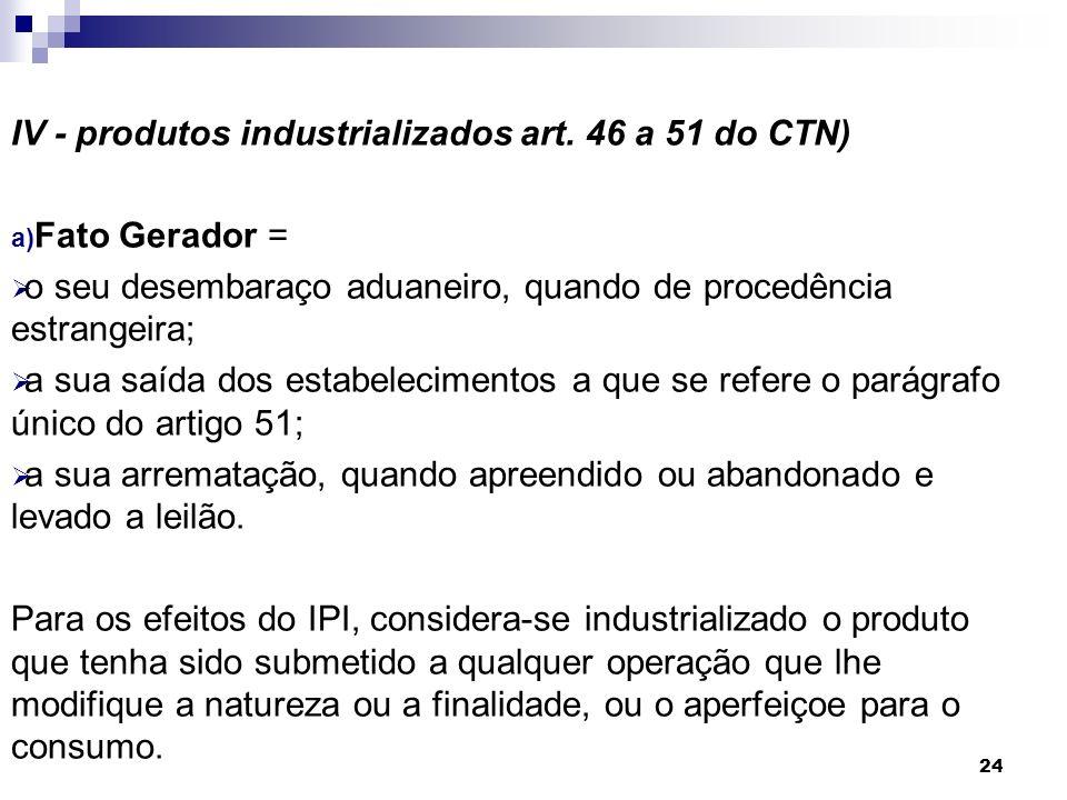 24 IV - produtos industrializados art. 46 a 51 do CTN) a) Fato Gerador = o seu desembaraço aduaneiro, quando de procedência estrangeira; a sua saída d