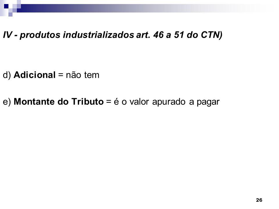 26 IV - produtos industrializados art. 46 a 51 do CTN) d) Adicional = não tem e) Montante do Tributo = é o valor apurado a pagar