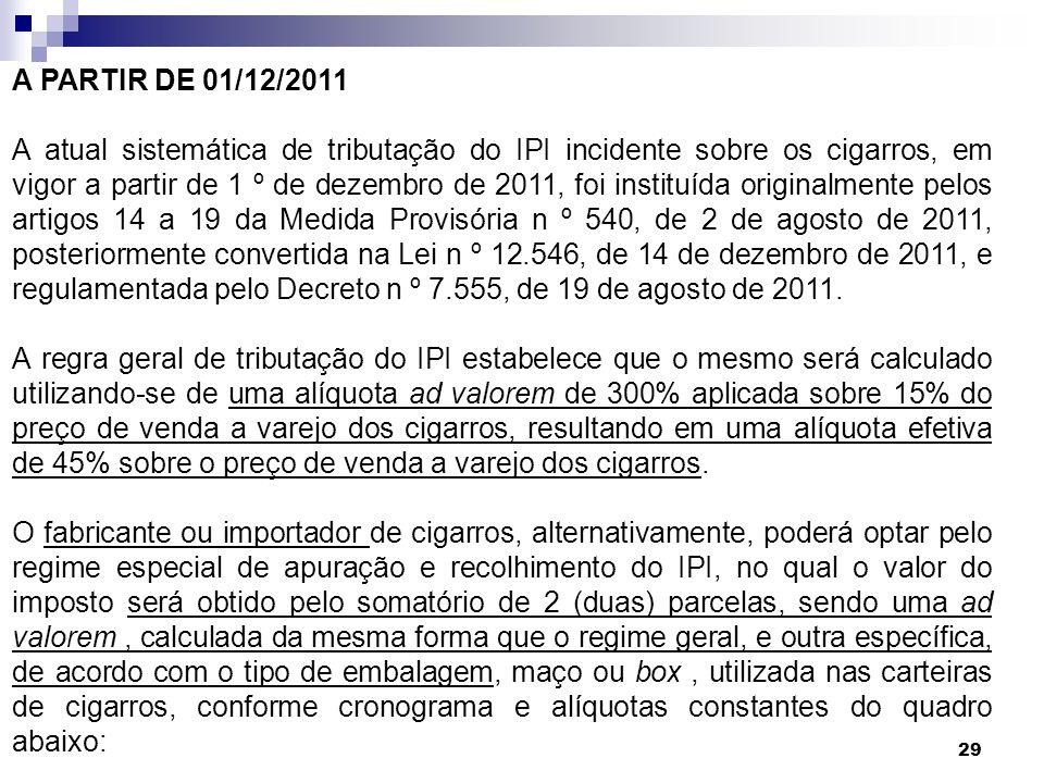 29 A PARTIR DE 01/12/2011 A atual sistemática de tributação do IPI incidente sobre os cigarros, em vigor a partir de 1 º de dezembro de 2011, foi inst