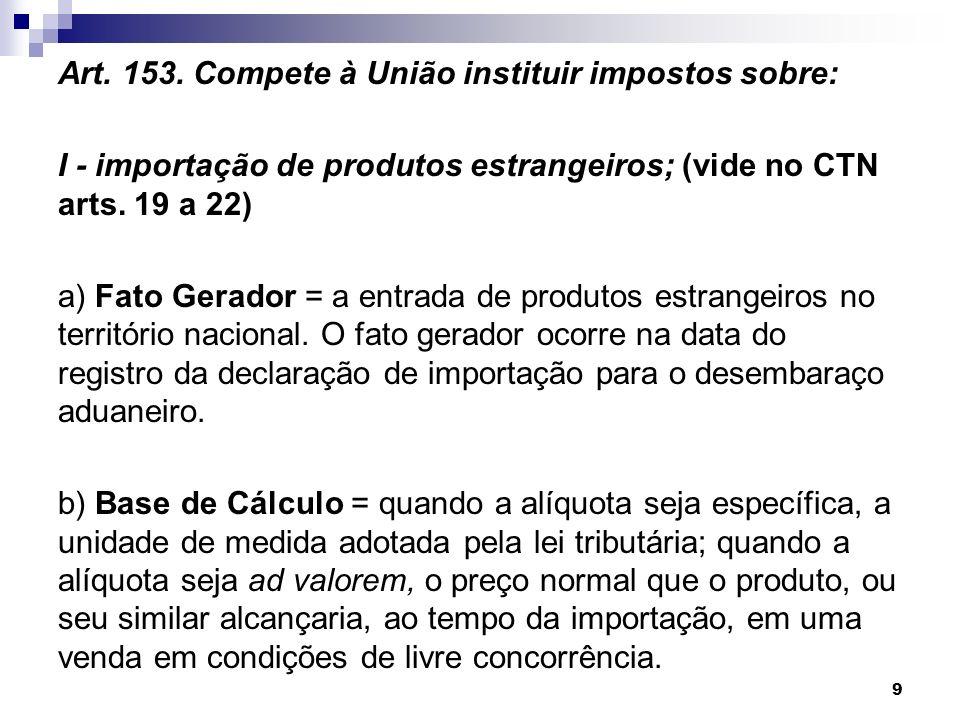 Art. 153. Compete à União instituir impostos sobre: I - importação de produtos estrangeiros; (vide no CTN arts. 19 a 22) a) Fato Gerador = a entrada d