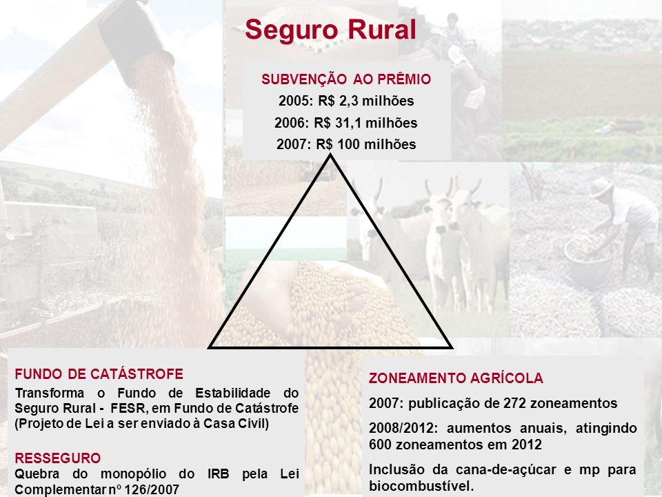Seguro Rural FUNDO DE CATÁSTROFE Transforma o Fundo de Estabilidade do Seguro Rural - FESR, em Fundo de Catástrofe (Projeto de Lei a ser enviado à Cas