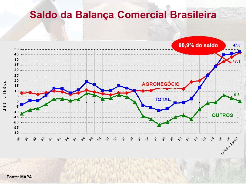 Saldo da Balança Comercial Brasileira TOTAL AGRONEGÓCIO OUTROS Fonte: MAPA 98,9% do saldo