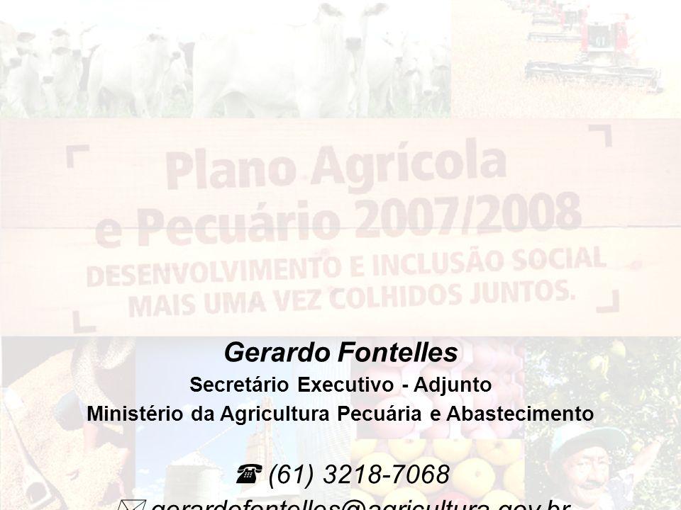 (61) 3218-7068 gerardofontelles@agricultura.gov.br Gerardo Fontelles Secretário Executivo - Adjunto Ministério da Agricultura Pecuária e Abastecimento