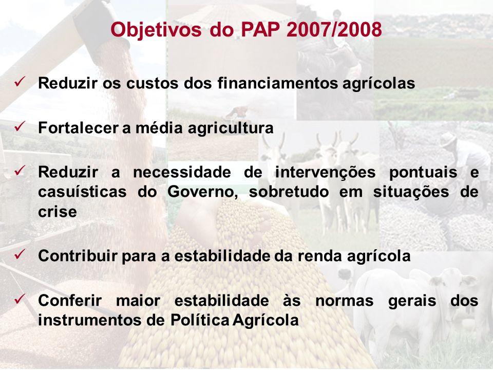 Reduzir os custos dos financiamentos agrícolas Fortalecer a média agricultura Reduzir a necessidade de intervenções pontuais e casuísticas do Governo,