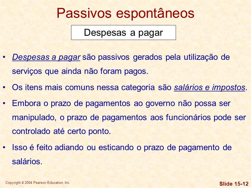 Copyright © 2004 Pearson Education, Inc. Slide 15-11 Passivos espontâneos Efeitos de esticar o prazo de pagamento de contas Esticar o prazo de pagamen