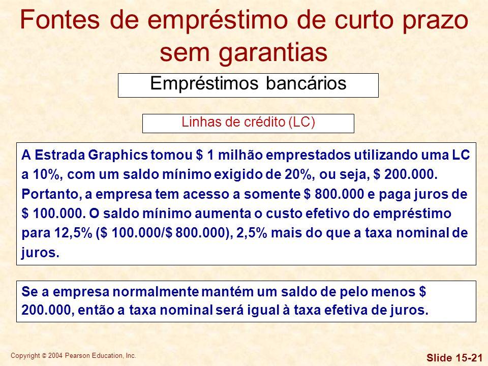 Copyright © 2004 Pearson Education, Inc. Slide 15-20 Fontes de empréstimo de curto prazo sem garantias Empréstimos bancários Tanto as LCs quanto os ac