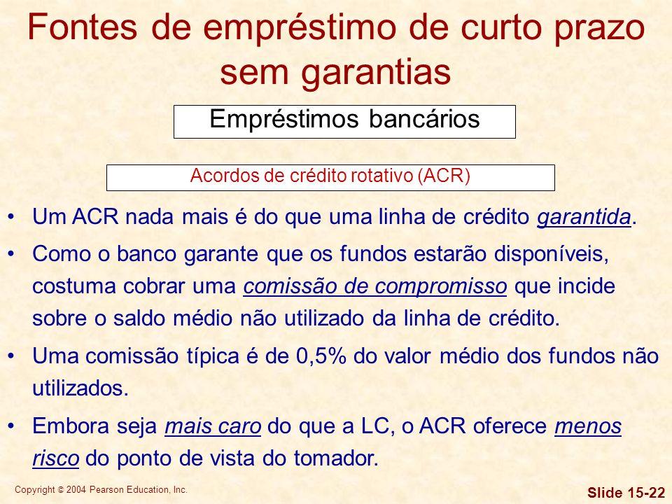 Copyright © 2004 Pearson Education, Inc. Slide 15-21 Fontes de empréstimo de curto prazo sem garantias Empréstimos bancários Linhas de crédito (LC) A
