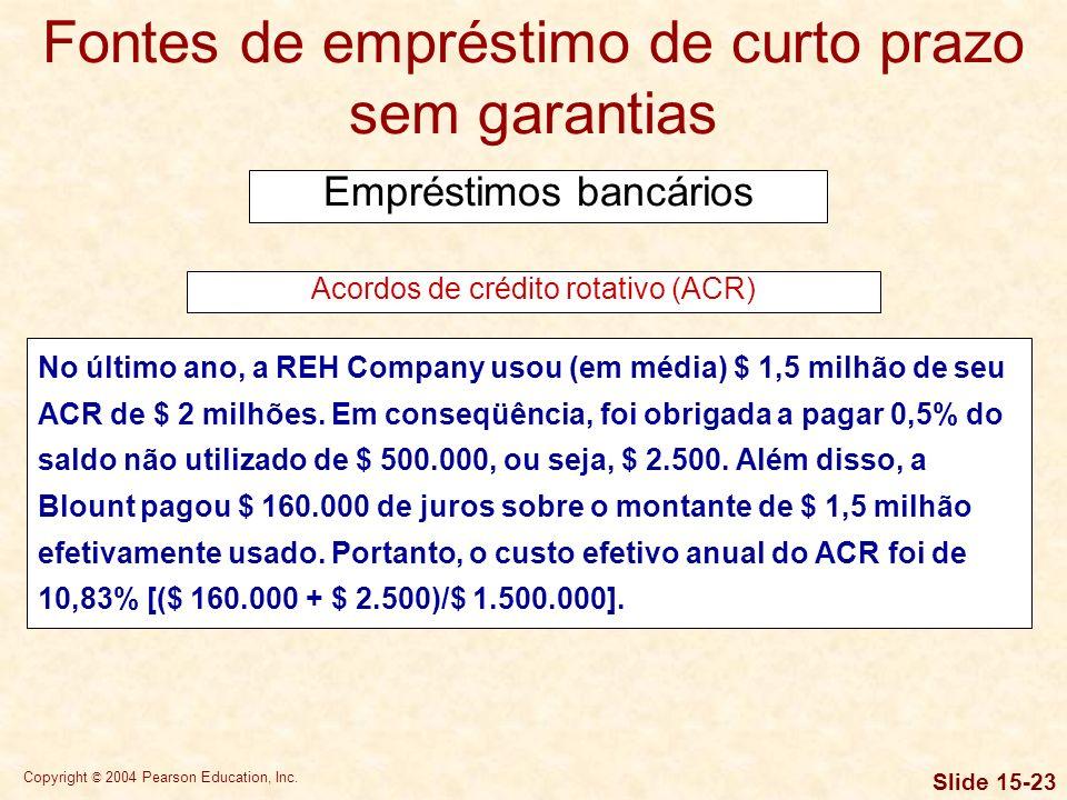 Copyright © 2004 Pearson Education, Inc. Slide 15-22 Fontes de empréstimo de curto prazo sem garantias Empréstimos bancários Acordos de crédito rotati