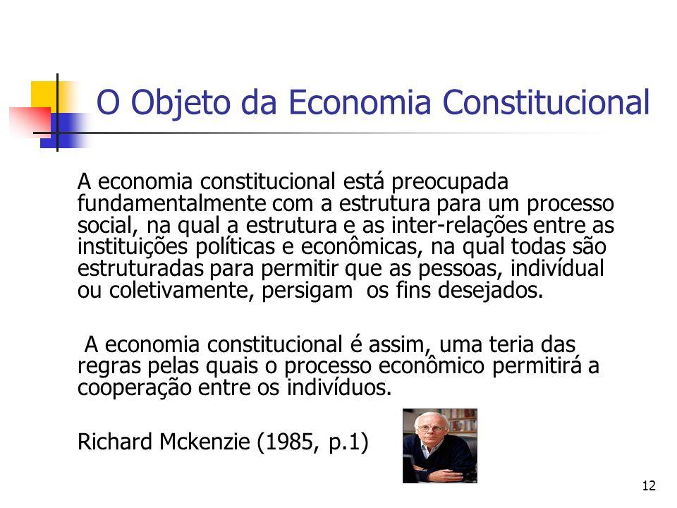 12 O Objeto da Economia Constitucional A economia constitucional está preocupada fundamentalmente com a estrutura para um processo social, na qual a e