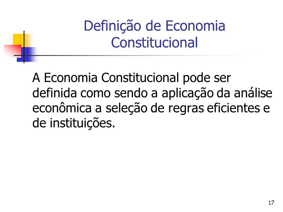 17 Definição de Economia Constitucional A Economia Constitucional pode ser definida como sendo a aplicação da análise econômica a seleção de regras ef
