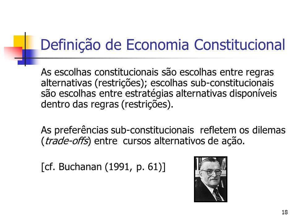 18 Definição de Economia Constitucional As escolhas constitucionais são escolhas entre regras alternativas (restrições); escolhas sub-constitucionais
