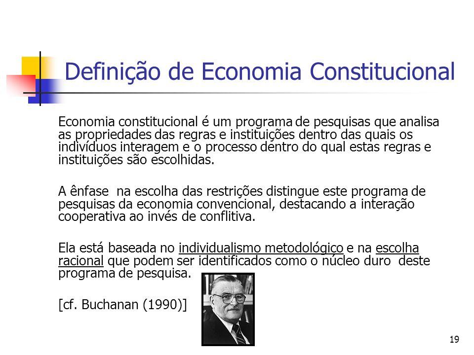 19 Definição de Economia Constitucional Economia constitucional é um programa de pesquisas que analisa as propriedades das regras e instituições dentr