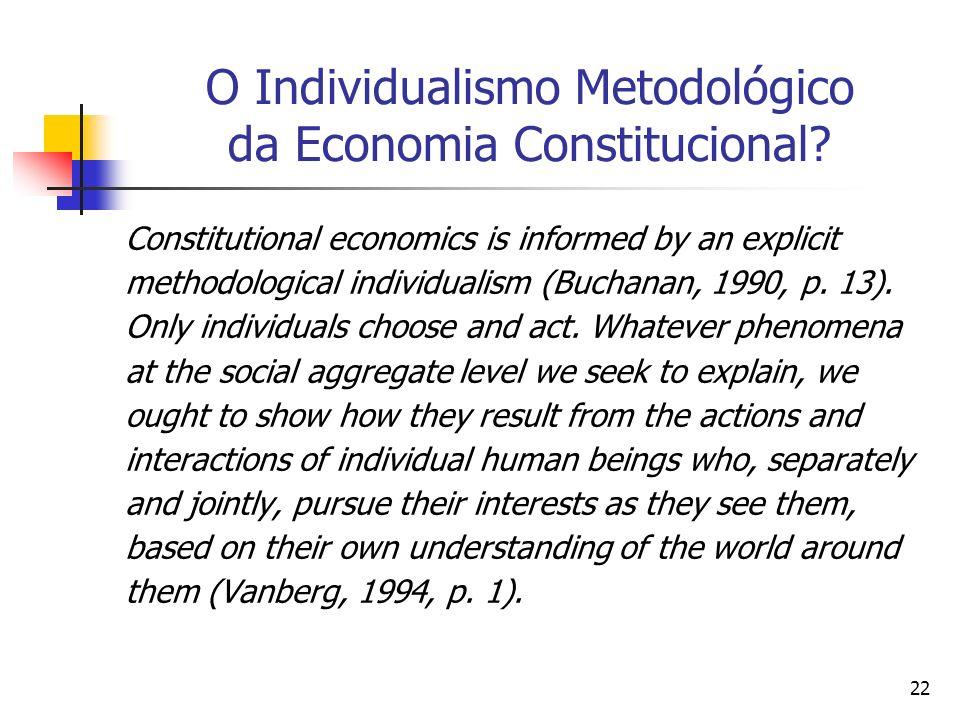 22 O Individualismo Metodológico da Economia Constitucional? Constitutional economics is informed by an explicit methodological individualism (Buchana