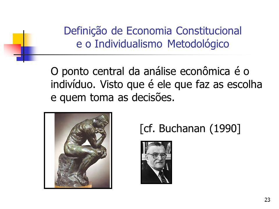 23 Definição de Economia Constitucional e o Individualismo Metodológico O ponto central da análise econômica é o indivíduo. Visto que é ele que faz as
