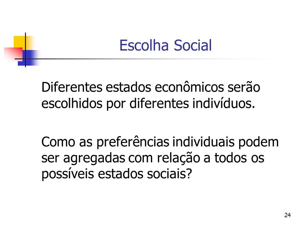 24 Escolha Social Diferentes estados econômicos serão escolhidos por diferentes indivíduos. Como as preferências individuais podem ser agregadas com r
