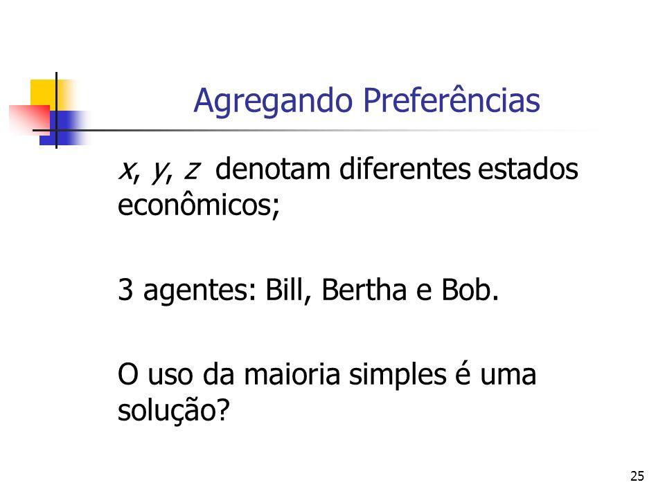 25 Agregando Preferências x, y, z denotam diferentes estados econômicos; 3 agentes: Bill, Bertha e Bob. O uso da maioria simples é uma solução?
