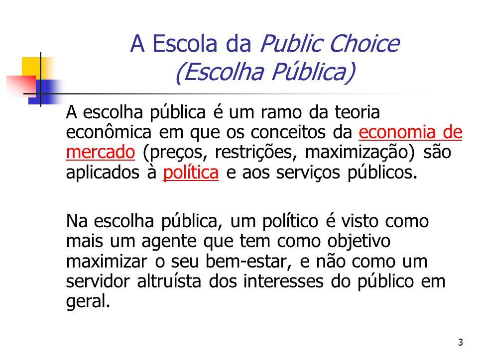 4 A Escola da Public Choice (Escolha Pública) A teoria da escolha pública pode ser definida como a aplicação da análise econômica a tomada de decisões políticas que incluem a teoria do Estado, regras de votação, comportamento do eleitor, partidos políticos e regulação.