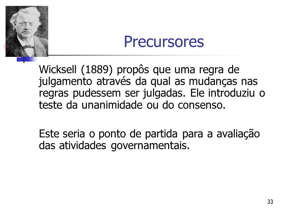 33 Precursores Wicksell (1889) propôs que uma regra de julgamento através da qual as mudanças nas regras pudessem ser julgadas. Ele introduziu o teste