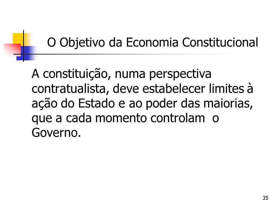 35 O Objetivo da Economia Constitucional A constituição, numa perspectiva contratualista, deve estabelecer limites à ação do Estado e ao poder das mai