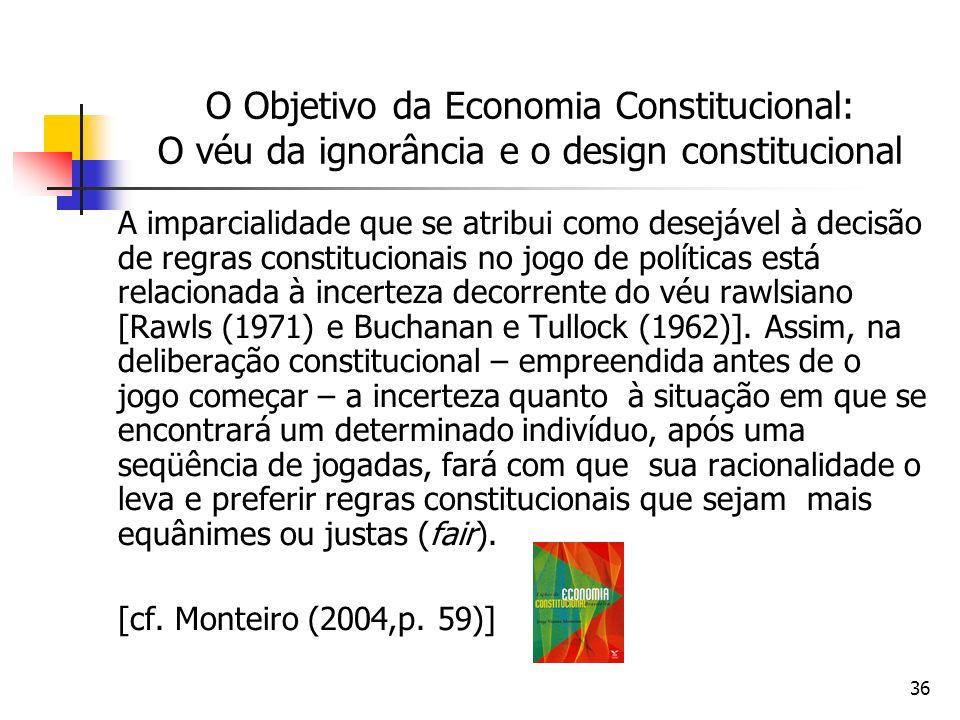 36 O Objetivo da Economia Constitucional: O véu da ignorância e o design constitucional A imparcialidade que se atribui como desejável à decisão de re