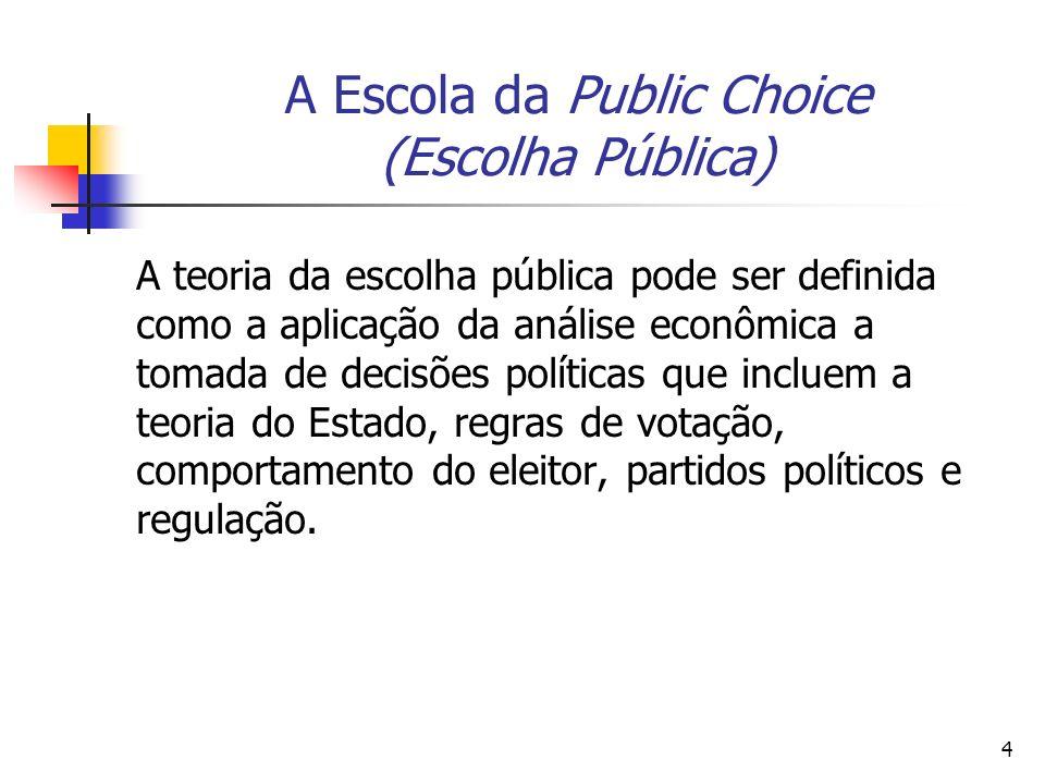 5 A Escola da Public Choice (Escolha Pública) Segundo Medema & Mercuro (1997, p.84), a public choice constitui-se numa abordagem da Law & Economics que se concentra predominantemente sobre a criação e implementação das leis que correm principalmente através do processo político.
