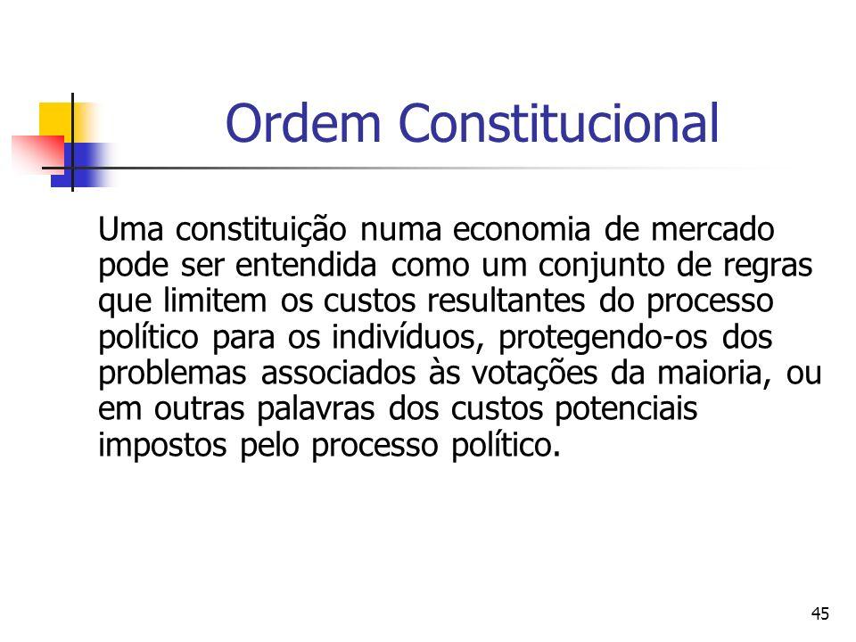 45 Ordem Constitucional Uma constituição numa economia de mercado pode ser entendida como um conjunto de regras que limitem os custos resultantes do p