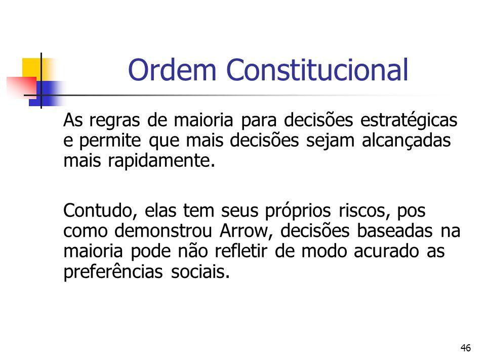 46 Ordem Constitucional As regras de maioria para decisões estratégicas e permite que mais decisões sejam alcançadas mais rapidamente. Contudo, elas t
