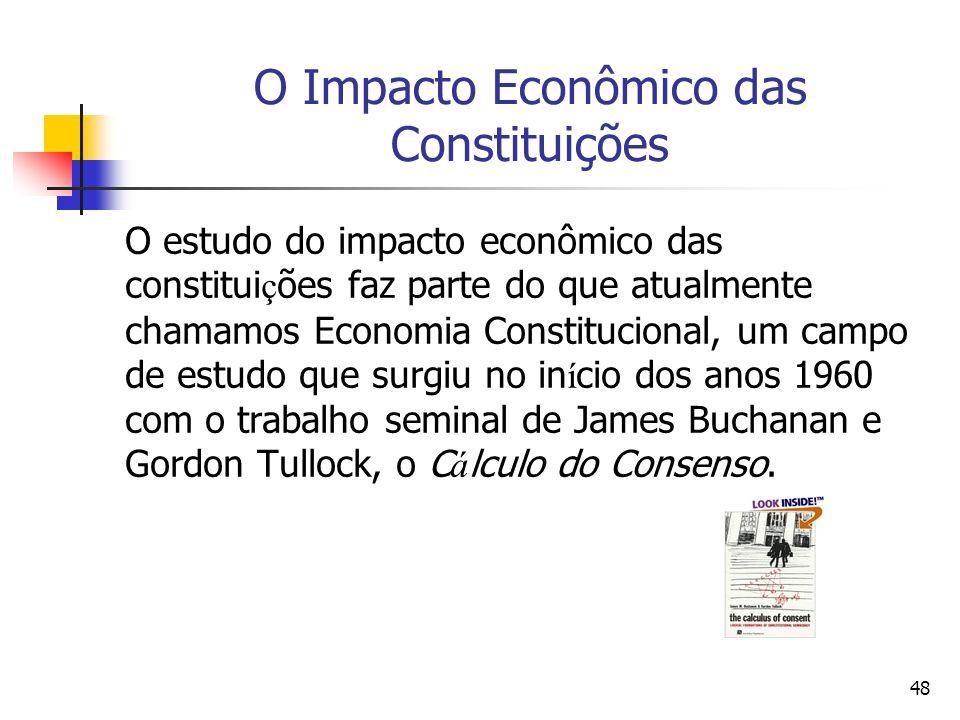 48 O Impacto Econômico das Constituições O estudo do impacto econômico das constitui ç ões faz parte do que atualmente chamamos Economia Constituciona