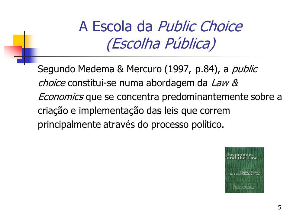 6 A Escola da Public Choice (Escolha Pública) A análise econômica é estendida a tomada de decições não mercado (nonmarket decisionmaking): teoria do estado, regras de votação, escohas burocráticas, regulação, corrupção, lobbies etc.