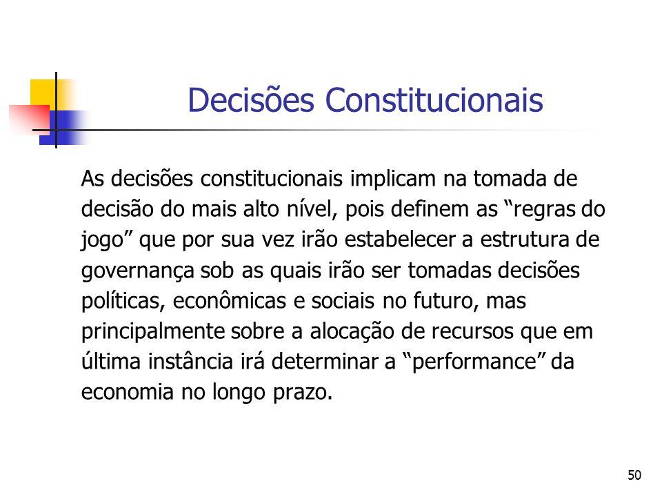50 Decisões Constitucionais As decisões constitucionais implicam na tomada de decisão do mais alto nível, pois definem as regras do jogo que por sua v