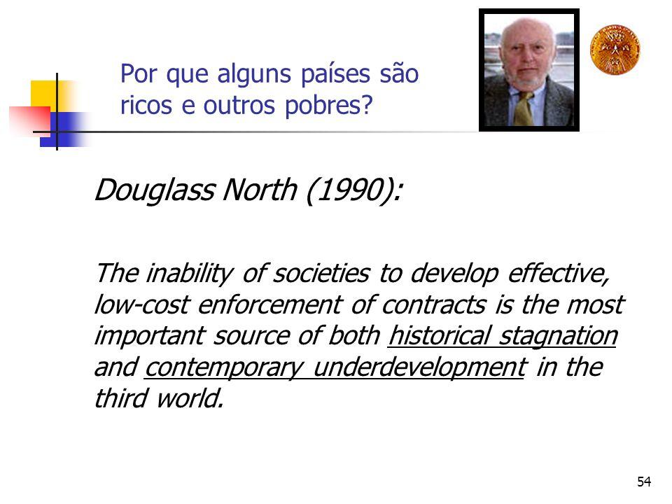 54 Por que alguns países são ricos e outros pobres? Douglass North (1990): The inability of societies to develop effective, low-cost enforcement of co