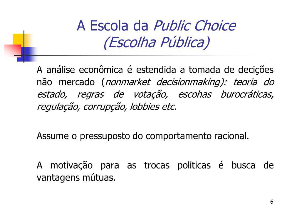 6 A Escola da Public Choice (Escolha Pública) A análise econômica é estendida a tomada de decições não mercado (nonmarket decisionmaking): teoria do e