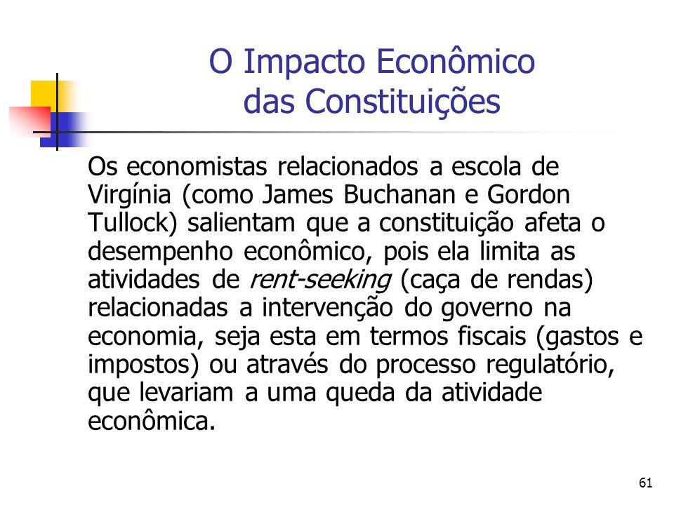 61 O Impacto Econômico das Constituições Os economistas relacionados a escola de Virgínia (como James Buchanan e Gordon Tullock) salientam que a const