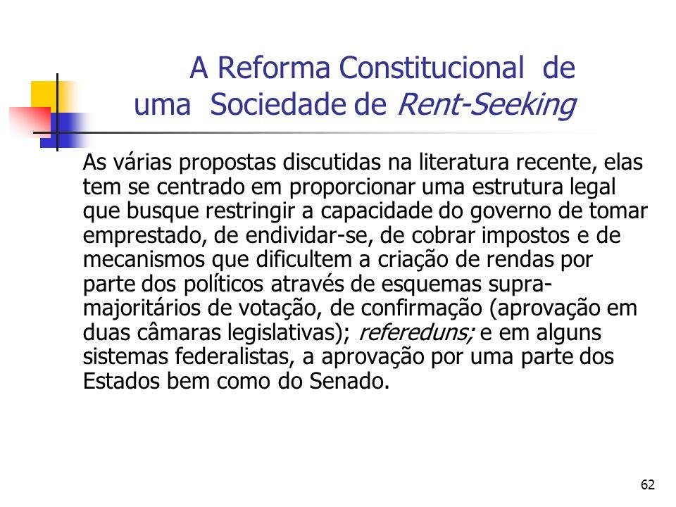 62 A Reforma Constitucional de uma Sociedade de Rent-Seeking As várias propostas discutidas na literatura recente, elas tem se centrado em proporciona