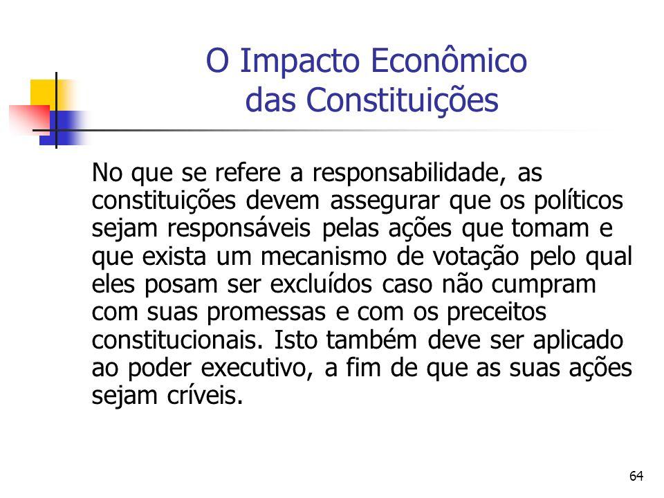 64 O Impacto Econômico das Constituições No que se refere a responsabilidade, as constituições devem assegurar que os políticos sejam responsáveis pel